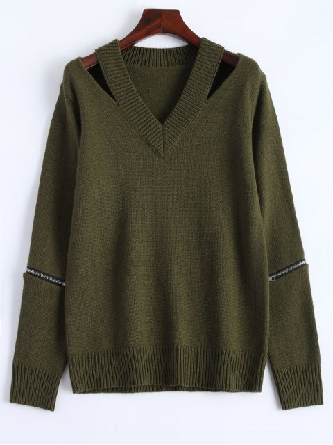 women Pullover Zipper V Neck Sweater - ARMY GREEN L Mobile