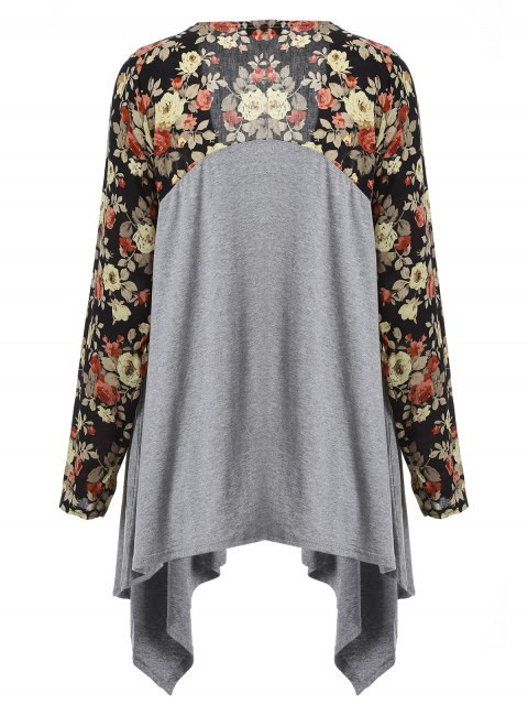 women's Floral Print Duster Coat - GRAY L Mobile
