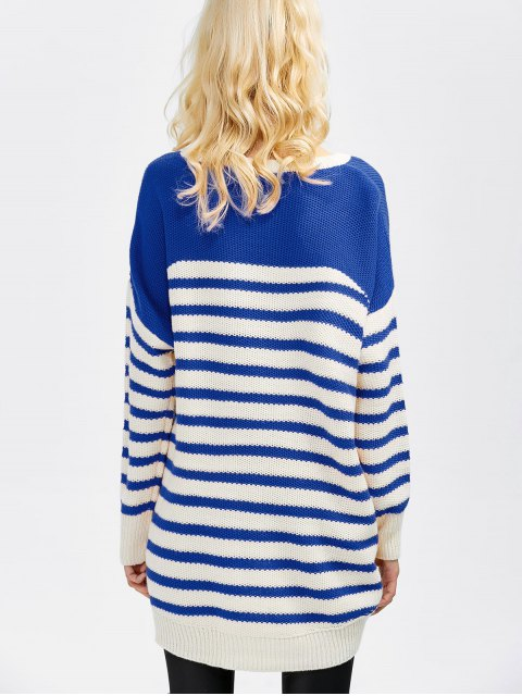 new Striped Oversized High Low Sweater - BLUE 2XL Mobile