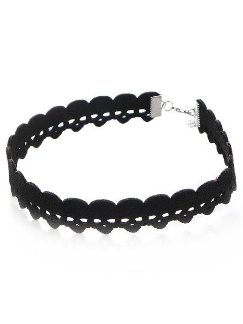 latest Faux Leather Velvet Skulls Choker Necklace - BLACK  Mobile