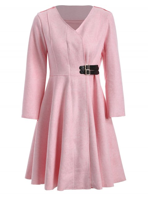 women's Patched Fit and Flare Dress - PINK S Mobile