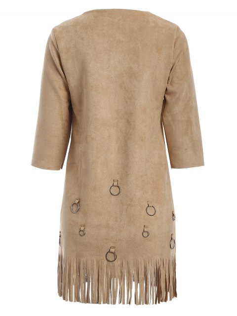 fancy Tassels A-Line Dress - CAMEL XL Mobile
