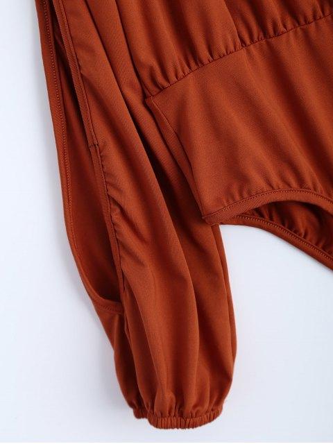 latest Split Cold Shoulder Bodysuit - ORANGEPINK XL Mobile