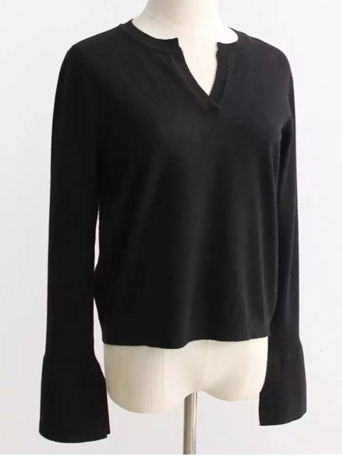 trendy Slimming Flare Sleeve Knitwear - BLACK ONE SIZE Mobile