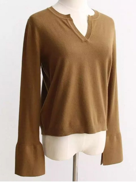 fashion Slimming Flare Sleeve Knitwear - BROWN ONE SIZE Mobile