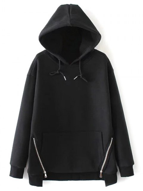 women String Zippered Hoodie - BLACK S Mobile