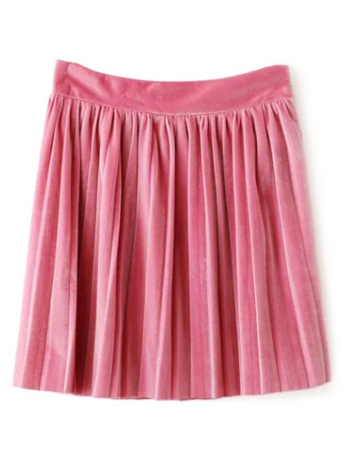 trendy Velour Pleated Skirt - LIGHT PINK L Mobile