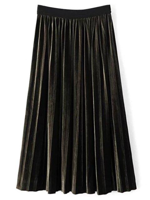 fancy High Waist Midi Pleated Skirt - BLACKISH GREEN ONE SIZE Mobile