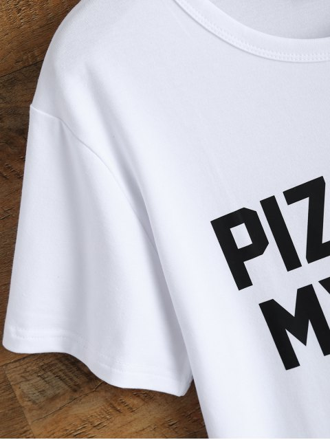 best Jewel Neck Pizza Is My Bae T-Shirt - WHITE S Mobile
