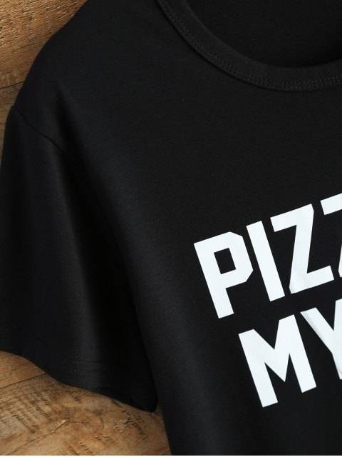 outfit Jewel Neck Pizza Is My Bae T-Shirt - BLACK L Mobile