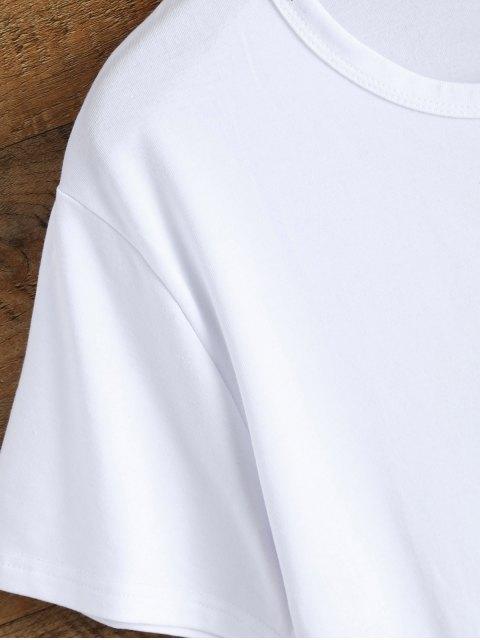 fashion Jewel Neck Alien T-Shirt - WHITE L Mobile