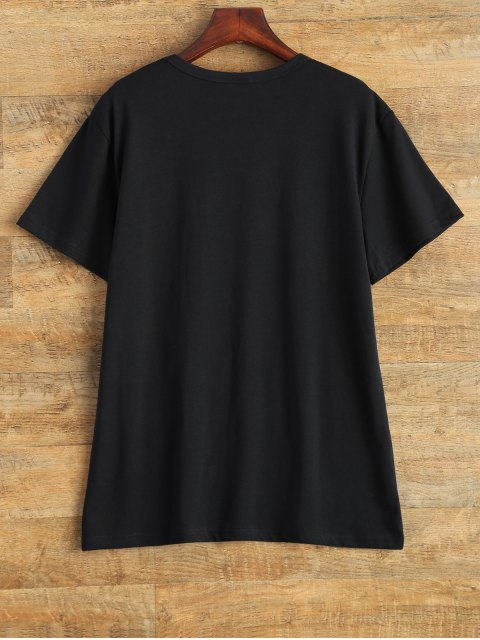 new Jewel Neck Work Graphic T-Shirt - BLACK S Mobile