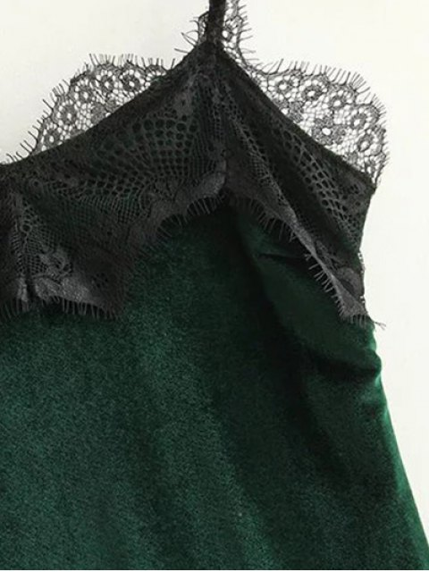 women Lace Panel Scalloped A-Line Dress - GREEN M Mobile