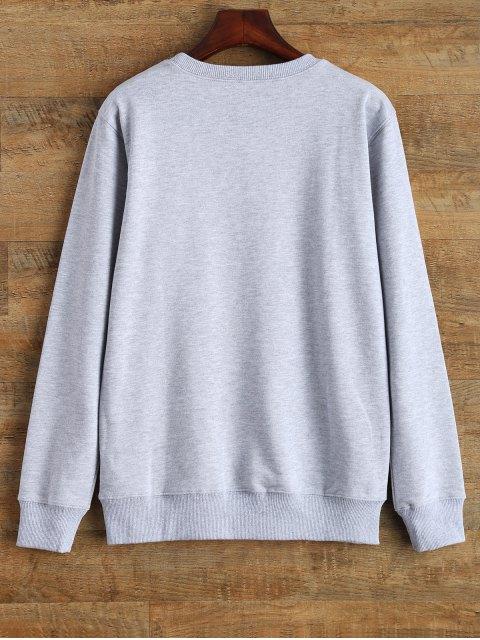 best Crew Neck Graphic Streetwear Sweatshirt - GRAY S Mobile