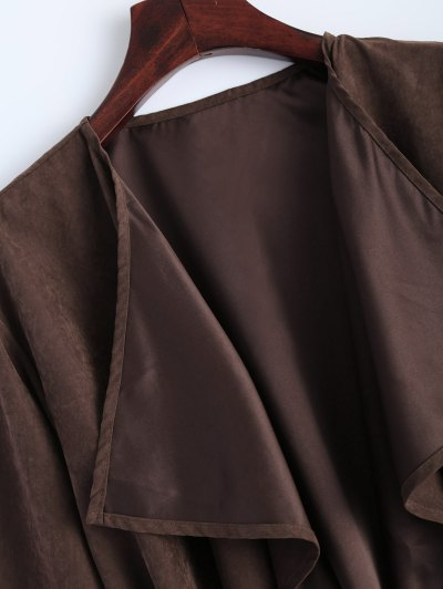 Faux Suede Duster Coat - BROWN L Mobile