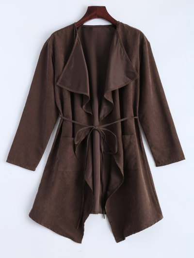 Faux Suede Duster Coat - BROWN S Mobile