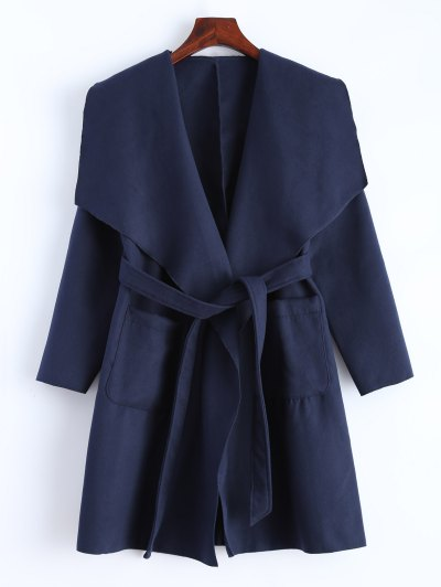 Wrap Woolen Coat With Pockets - DEEP BLUE XL Mobile