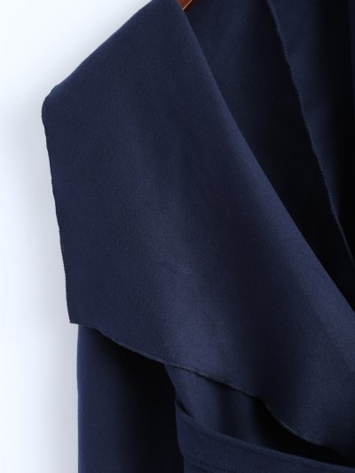 Wrap Woolen Coat With Pockets - DEEP BLUE L Mobile