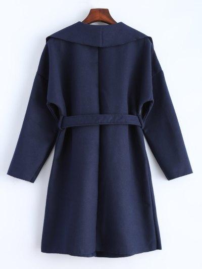 Wrap Woolen Coat With Pockets - DEEP BLUE S Mobile