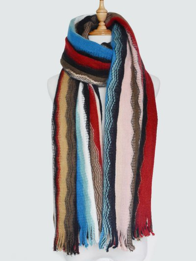 Wave Stripe Tassel Knit Scarf - COLORMIX  Mobile