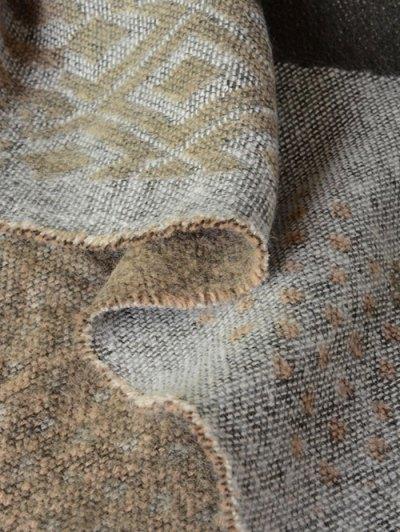 Aztec Geometry Fringed Knit Scarf - KHAKI  Mobile
