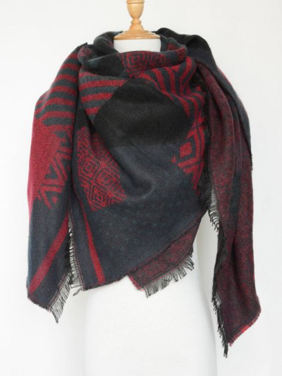 Aztec Geometry Fringed Knit Scarf - BLACK  Mobile
