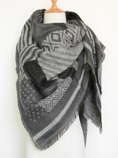 Aztec Geometry Fringed Knit Scarf - GRAY  Mobile