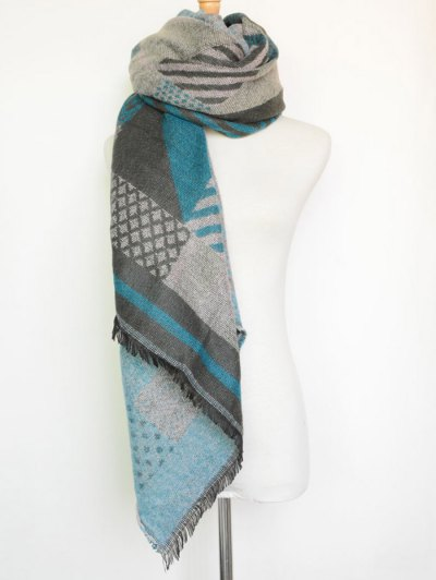 Aztec Geometry Fringed Knit Scarf - LAKE BLUE  Mobile