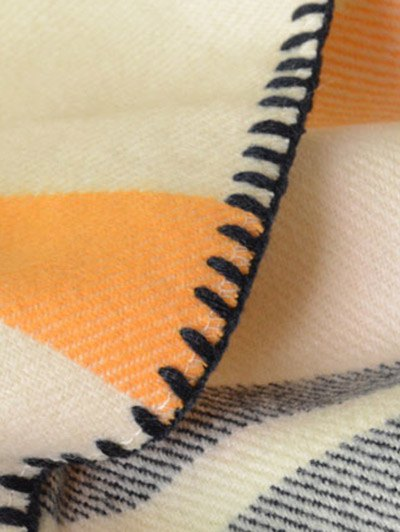 Striped Stitch Hemming Pashmina - BEIGE  Mobile