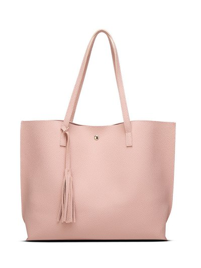 Textured PU Leather Tassel Shoulder Bag - PINK  Mobile