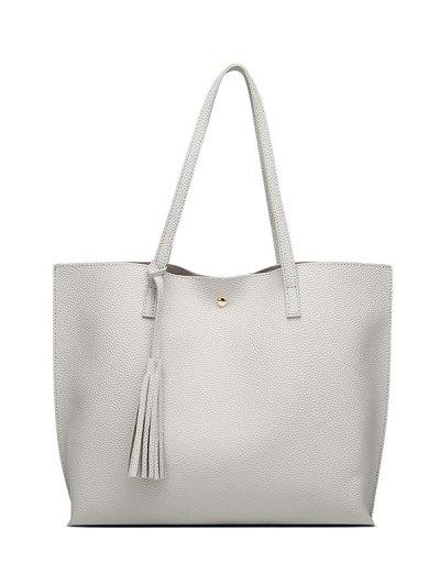 Textured PU Leather Tassel Shoulder Bag - GRAY  Mobile
