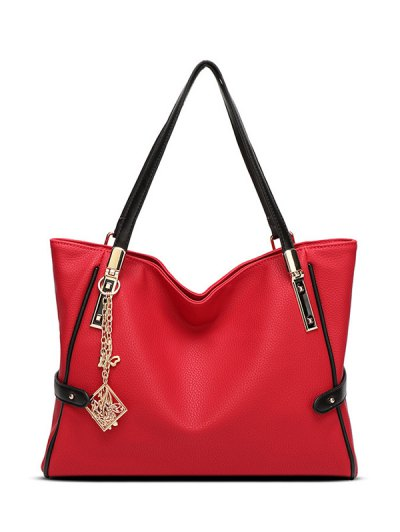 Chains Pendant PU Leather Shoulder Bag - RED  Mobile