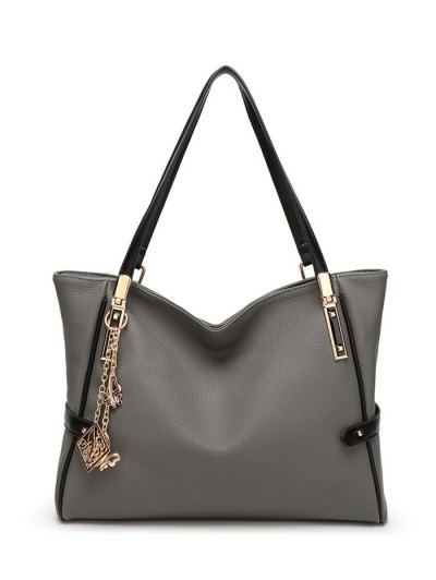Chains Pendant PU Leather Shoulder Bag - GRAY  Mobile