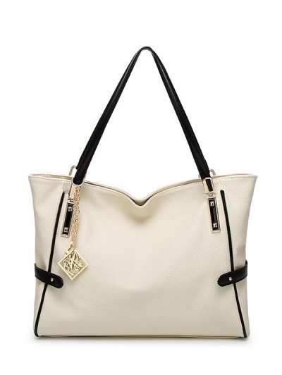 Chains Pendant PU Leather Shoulder Bag - WHITE  Mobile