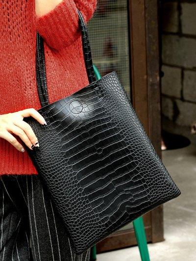 Casual Crocodile Embossed Shoulder Bag - BLACK  Mobile