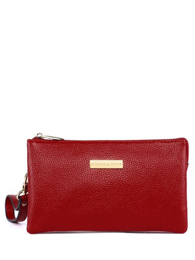 Metal Textured PU Leather Clutch Bag - RED  Mobile
