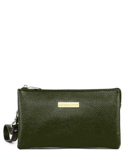 Metal Textured PU Leather Clutch Bag - GREEN  Mobile