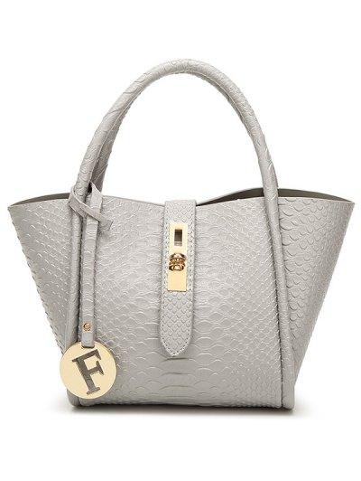 Metal Pendant Crocodile Embossed Handbag - GRAY  Mobile