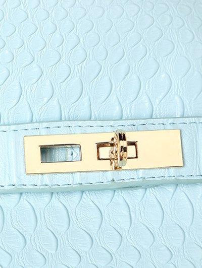 Metal Pendant Crocodile Embossed Handbag - BLUE  Mobile