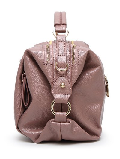 Metallic Zips Textured Tote - PINK  Mobile