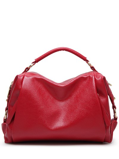 Metallic Zips Textured Tote - RED  Mobile