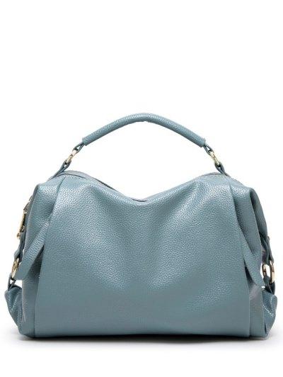 Metallic Zips Textured Tote - BLUE  Mobile