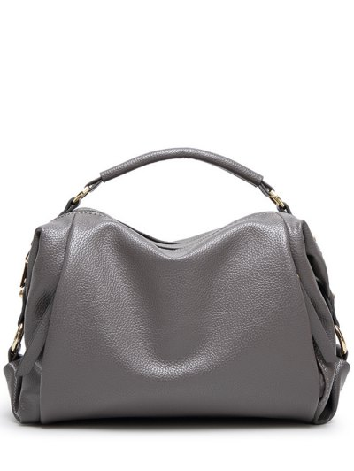 Metallic Zips Textured Tote - GRAY  Mobile