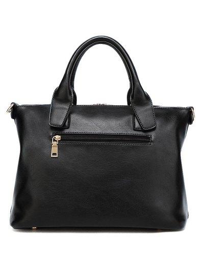 Metal Chains PU Leather Handbag - BLACK  Mobile