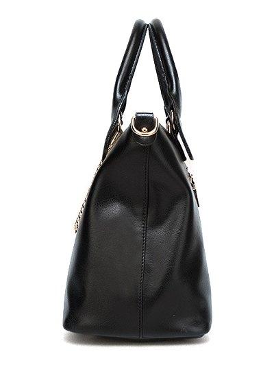 Metal Chains PU Leather Handbag - ROSE RED  Mobile