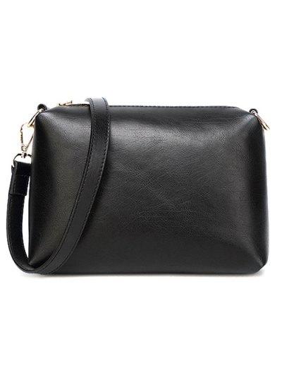 Metal Chains PU Leather Handbag - WHITE  Mobile