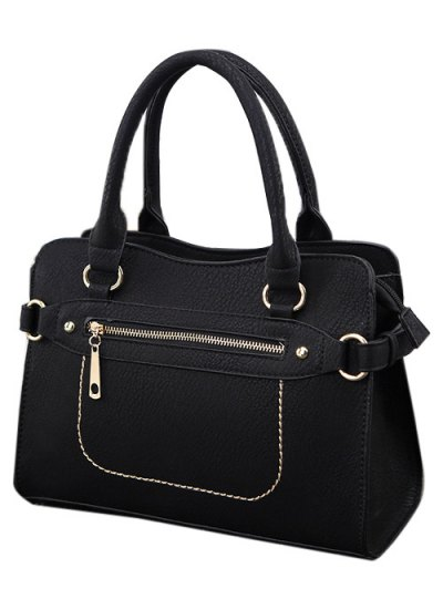 Stitching Zip Textured PU Leather Tote - BLACK  Mobile