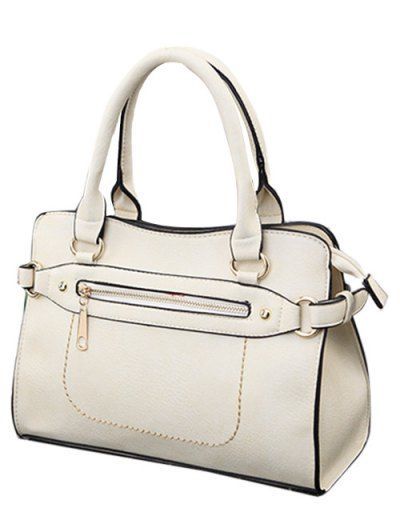 Stitching Zip Textured PU Leather Tote - WHITE  Mobile