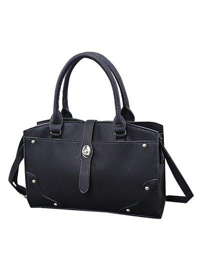 Rivet Metal PU Leather Handbag - BLACK  Mobile