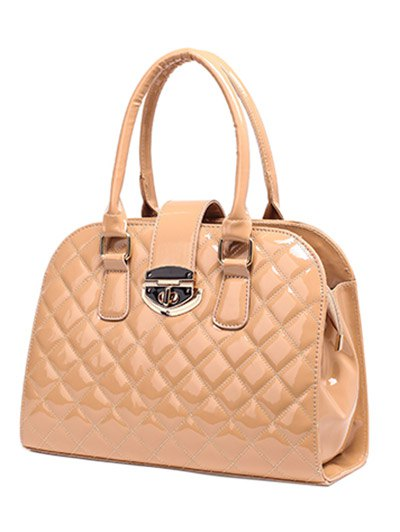 Rhombic Patent Leather Handbag - APRICOT  Mobile